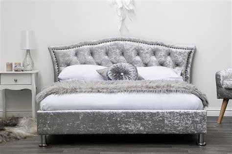 mattress futon silver crushed velvet upholstered designer bed