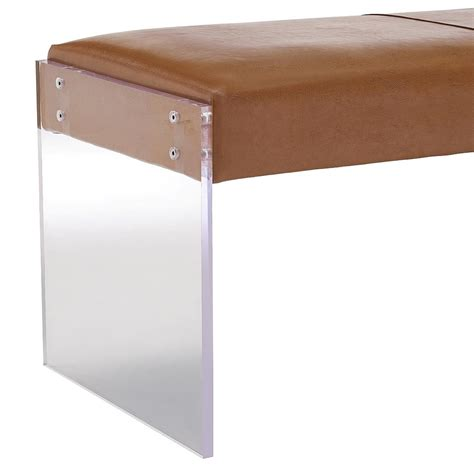tan leather bench galileo brown leather modern living room bench