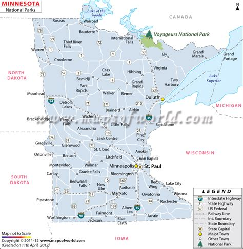 minnesota on the map of usa minnesota national parks map