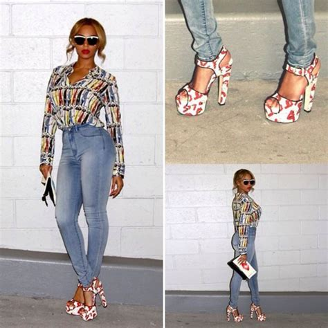 Beyonce Shows Trend High Belted Waists by Shoes Blouse Beyonce Style Fashion Sandals