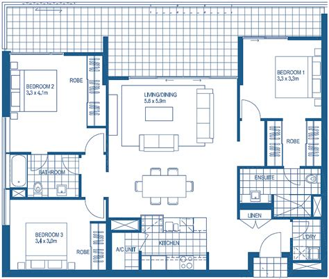 3 bedroom flat architectural plan apartment plans