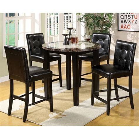 Black Counter Height Table Set by Atlas Black Finish 5 Counter Height Dining