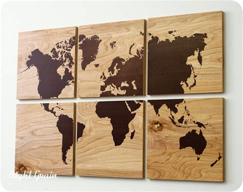 World Wall Decor by Wood Grain World Map Screen Print Large Wall Rustic