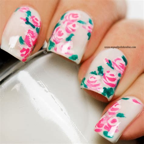 nail painting free nail with pink roses on white my nail
