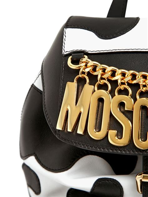 Backpack Leather Motif lyst moschino cow motif nappa leather backpack in white