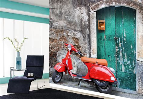 vespa wallpaper for walls fototapete red scooter rote vespa als wanddekoration