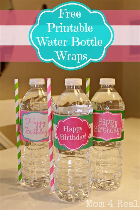 Free Printable Happy Birthday Water Bottle Label Wraps Mom 4 Real Birthday Water Bottle Labels Template Free