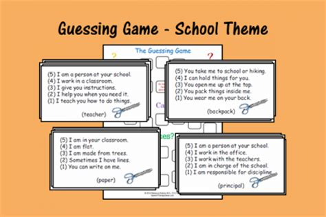 themes for guessing games guessing game school theme speech therapy ideas