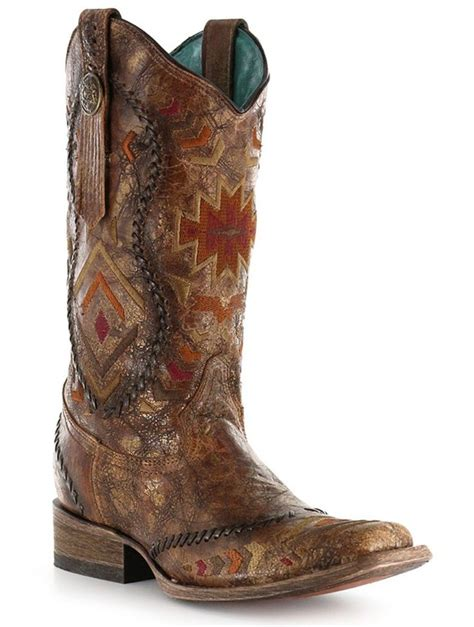 Boogy Baby To Toe Stardust Blue corral cognac multi color ethnic square toe boots c2915