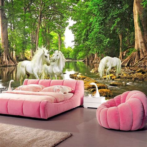 unicorn bedroom aliexpress buy unicorn brook trees wallpaper custom