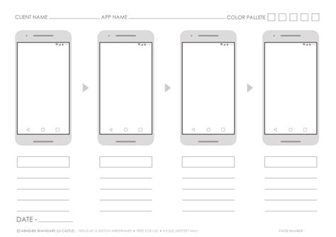 Ui Castle Nexus 6 Android Printable A3 Screen Flow Sketch Template Sketch Wireframe Template