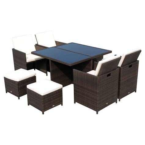 sedie da tavolo da pranzo outsunny set mobili pe rattan tavolo da pranzo 4 sedie e