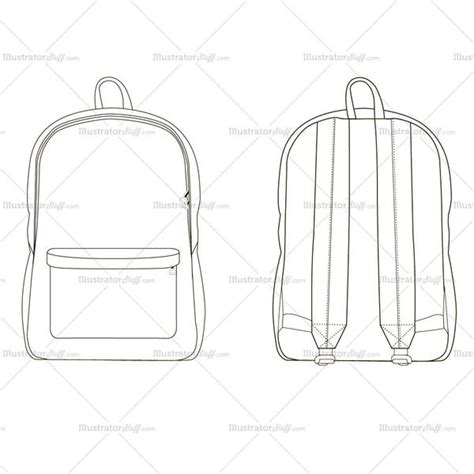 Backpack Fashion Flat Template Illustrator Stuff Backpack Design Template