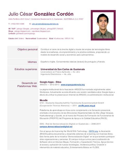 Modelo Curriculum Guatemala Hoja De Vida De Juliocgc