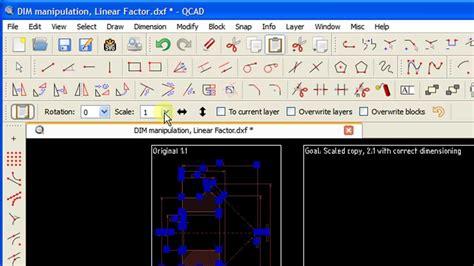 tutorial qcad youtube cad tutorial q e dimension manipulation linear factor