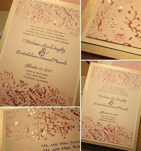 diy wedding invitation design idea in pink ivory and gold