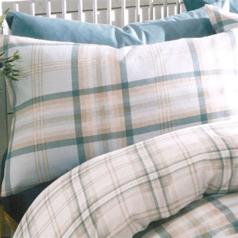 duck egg bed linen catherine lansfield kelso check duvet cover pillowcases