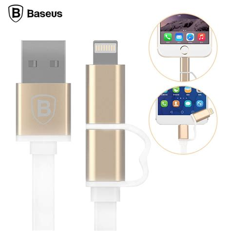 baseus dual port pro series 2 in 1 micro usb lightning metal usb cable original