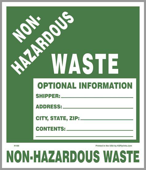 printable hazardous material label non hazardous waste 7x6 sticker