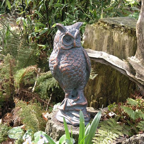 Garden Owl by Garden Sculptures Uk Ow Owl Statue Owl Sculpture Candle