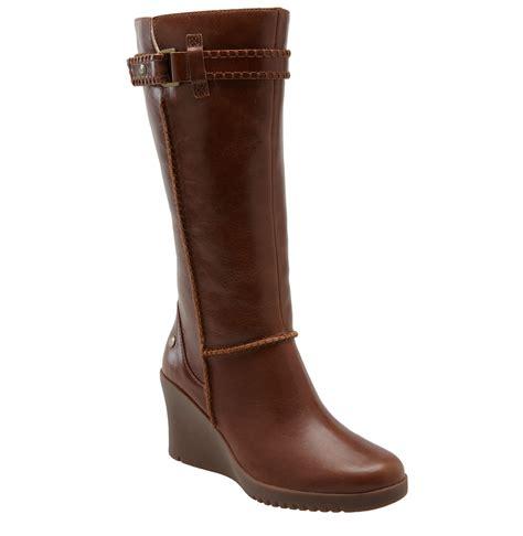 wedge brown boots ugg australia maxene wedge boot in brown chestnut lyst
