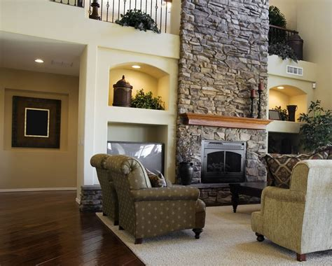 living room brick walls and fireplace 3d house