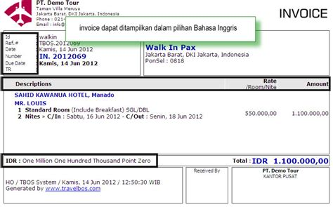 contoh invoice travel travelbos front office aplikasi travel agent program