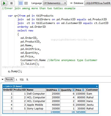 Joining Tables In Sql by Sql Joins With C Linq