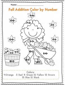 pictures on fall color by number worksheets easy