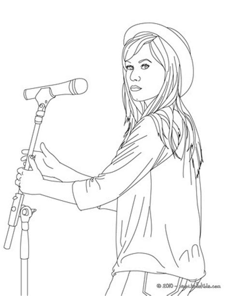 demi lovato with hat coloring pages hellokids com