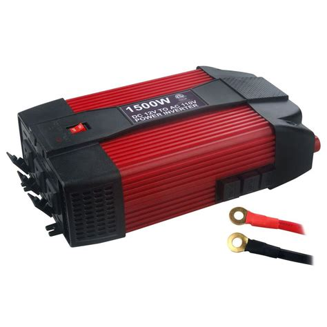 Power Inverter Dc To Ac Merk Mitsuyama With Usb 5v energin 12 volt dc to ac 1 500 watt power inverter 46928 the home depot