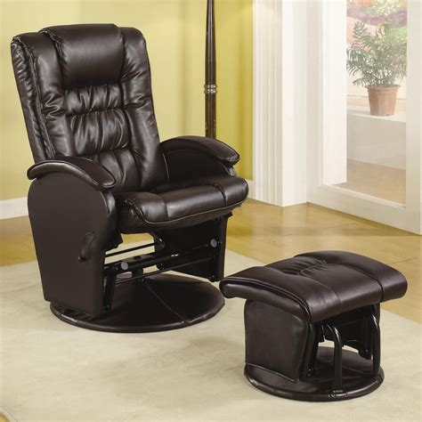 reclining glider and ottoman set coaster recliners with ottomans 600164 casual leather like