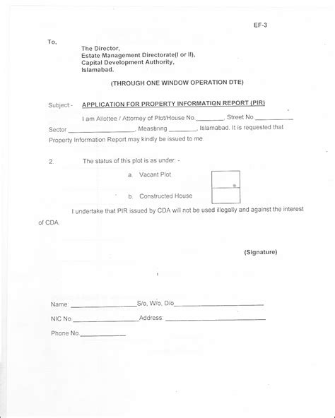 Property Transfer Request Letter Cda Form Applications