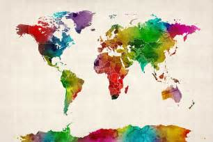 water color map watercolor map of the world map by michael tompsett