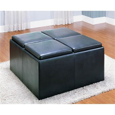 leather cocktail ottoman with storage trent home claire storage faux leather cocktail ottoman in
