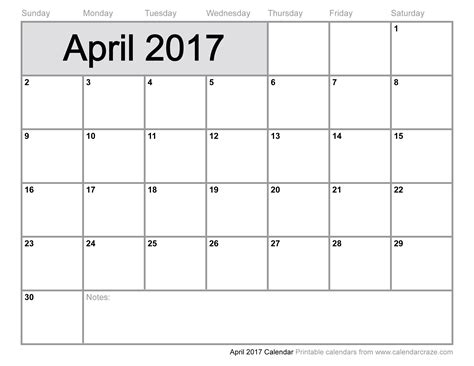 April 2017 Calendar Template   weekly calendar template