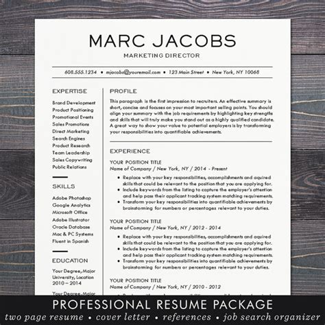 modern professional resume template modern resume template cv template for word mac or pc