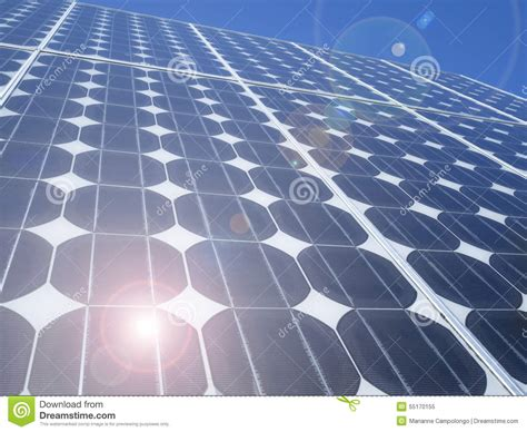 Solar Len by Lens Flare Solar Panel Photovoltaic Cells Stock Photo