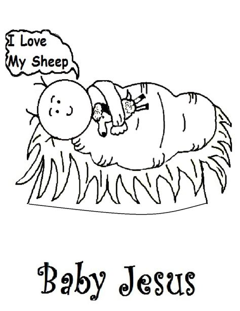 baby jesus in manger coloring pages