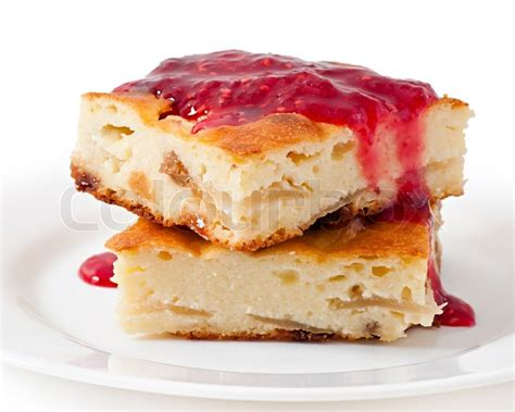 Cottage Cheese Pudding cottage cheese pudding with raspberry jam stock photo colourbox