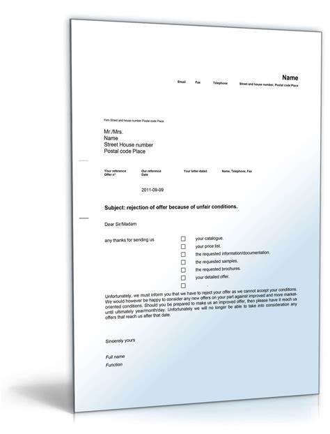 Angebot Nachfassen Musterbrief Englisch gesch 228 ftsbrief ablehnung angebot englisch muster
