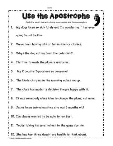 apostrophe worksheets apostrophe worksheet 3 worksheets