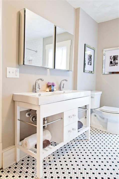 rehab addict bathroom after chic contemporary bathroom with double vanity a new vanity with duel sinks and
