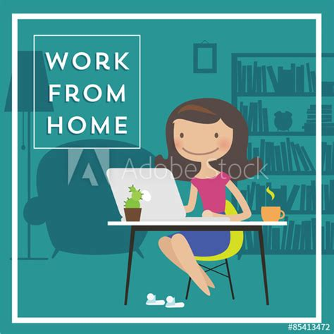 cartoon vector character  working woman sitting  home