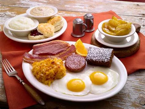 country breakfast with ham eggs biscuits and gravy