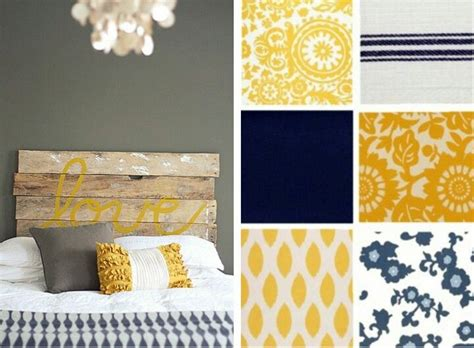 navy grey and yellow bedroom yellow grey navy blue color palette new apartment
