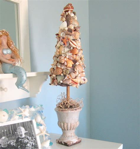 beach decor seashell topiary tree nautical decor shell