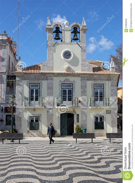 beautiful praca 5 outubro in cascais portugal editorial