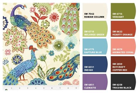 joannefabrics peacock fabric and matching sherwin williams chip it paint colors mexican