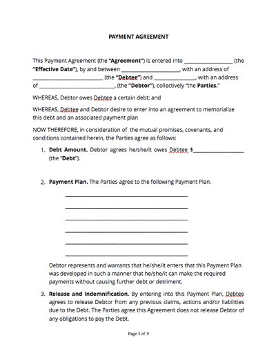 Agreement To Pay Contract Template